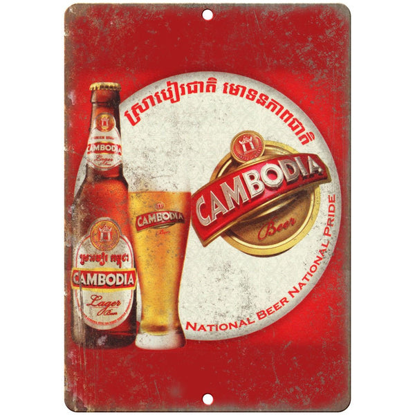 "Cambodia Lager Vintage Beer Ad 10"" x 7"" Reproduction Metal Sign E270"
