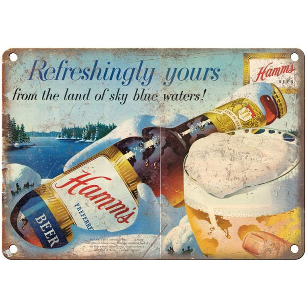 "10"" x 7"" Metal Sign - Hamm's Beer Refrishingly Yours Vintage Look Reproduction"