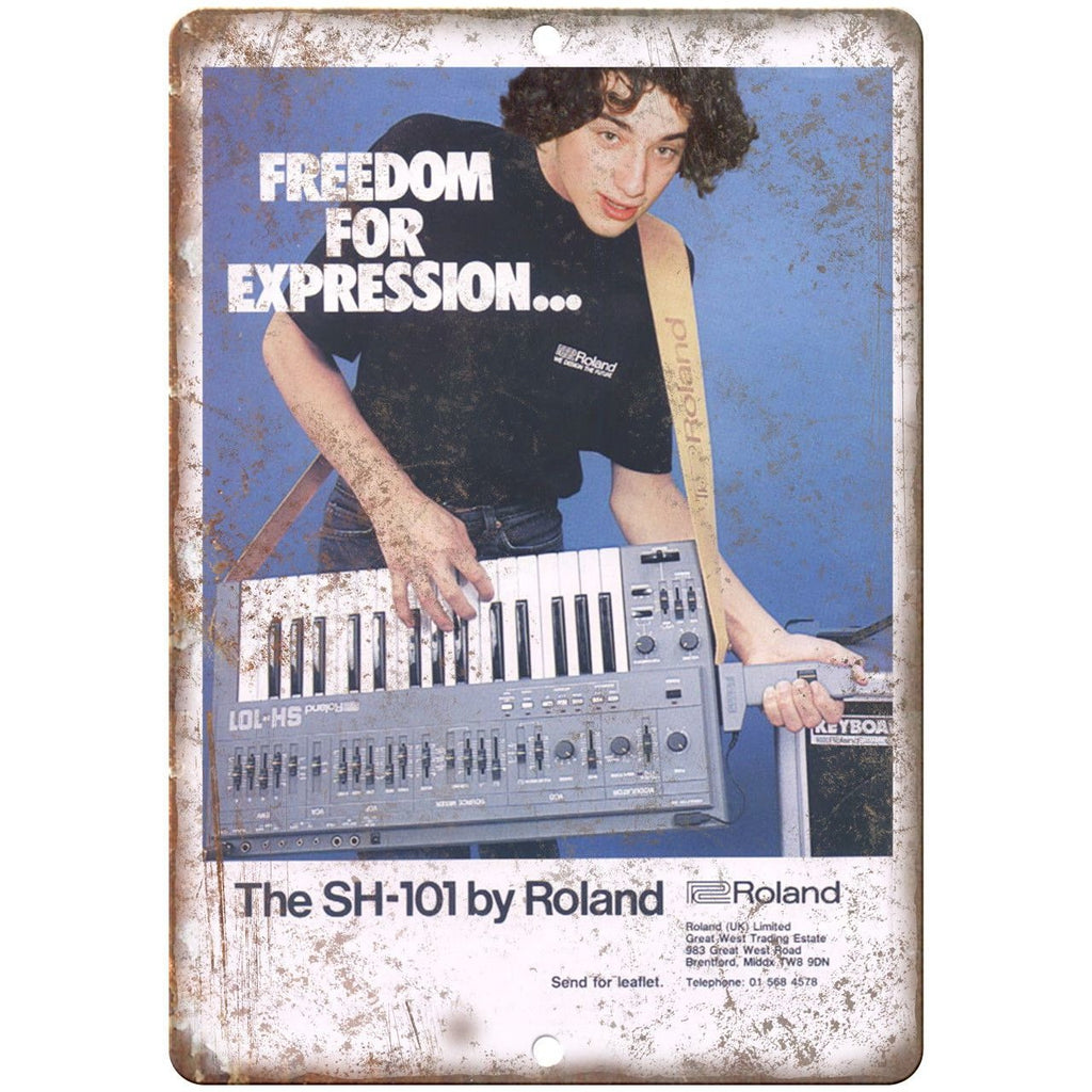 "SH-101 Roland Keyboard Synthesizer Ad 10"" x 7"" Reproduction Metal Sign E17"