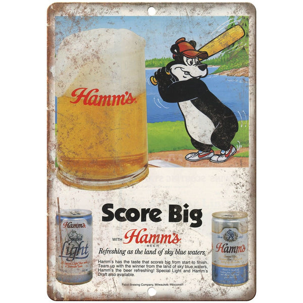 "10"" x 7"" Metal Sign - Hamm's Beer Score Big Bear - Vintage Look Reproduction"