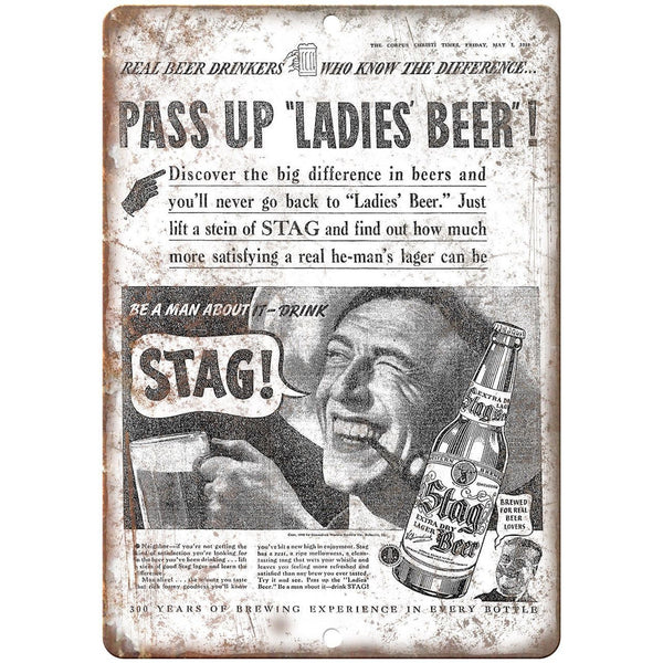 "Stag Beer Vintage Ad Corpus Christi Times 10"" x 7"" Reproduction Metal Sign E374"