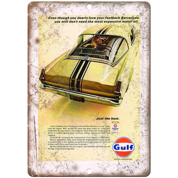 "Gulf Motor Oil Plymouth Fastback Barracuda Ad 10""x7"" Reproduction Metal Sign A07"