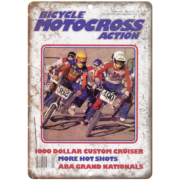"10"" x 7"" Metal Sign Bicycle Motocross Action BMX Vintage Look Reproduction B78"