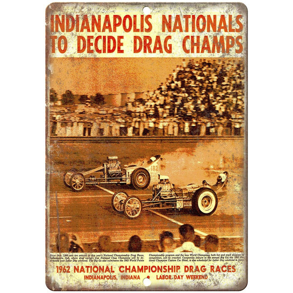 "1962 Indianapolis championship, funy car, drag race 10"" x 7"" Retro Metal Sign"