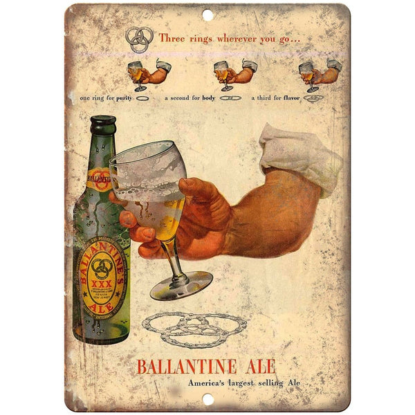 "Ballantine Ale Vintage Breweriana Ad 10"" x 7"" Reproduction Metal Sign E286"