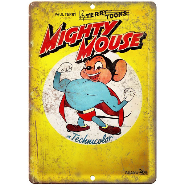"Mighty Mouse Terry Toons Paul Terry Comic 10"" X 7"" Reproduction Metal Sign J432"