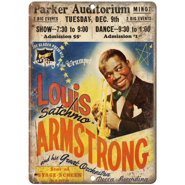 "Louis Armstrong vintage concert flyer 10"" x 7"" retro metal sign"