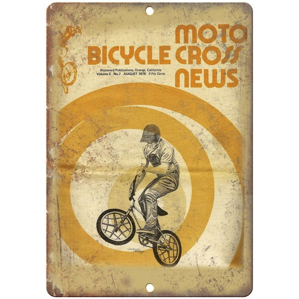 "1975 Moto Bicycle Cross News BMX - 10"" x 7"" Metal Sign Vintage Look Reproduction"