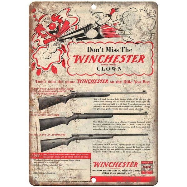 "Winchester rifle 10"" x 7"" reproduction metal sign"
