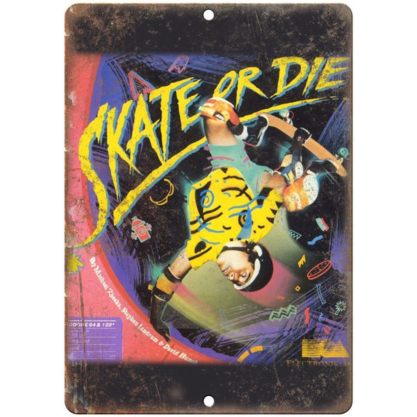 "Skate or Die Electronic Arts Commodore 64 Art 10""x7"" Reproduction Metal Sign G19"