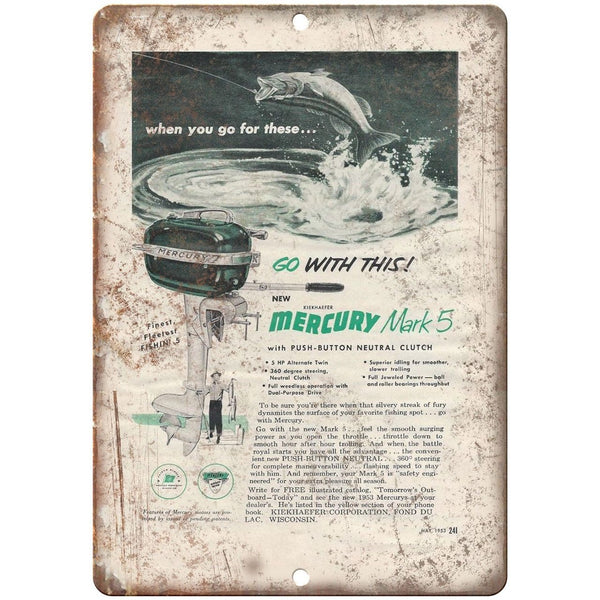 "Mercury Mark 5 Outboard Motors Boat Vintage Ad 10"" x 7"" Reproduction Metal Sign"
