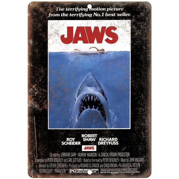 "Jaws Movie Poster Roy Schieder Richard Dreyfuss 10"" x 7"" Retro Look Metal Sign"