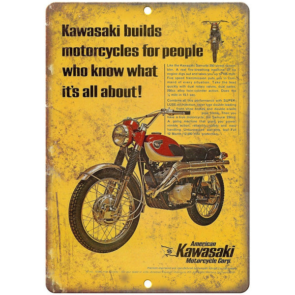 "Kawasaki Motorcycle Corp. Garage Sign Ad 10"" X 7"" Reproduction Metal Sign F25"