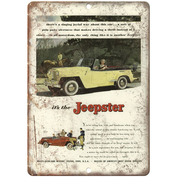 "Jeep Willys Overland Jeepster - 10"" x 7"" Reproduction Metal Sign"
