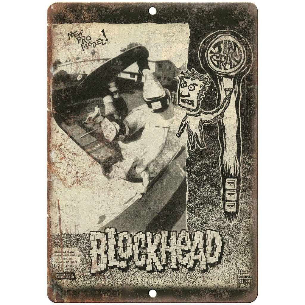 "Vision Street Wear Skateboard Jim Gray Blockhead 10"" x 7"" Retro Look Metal Sign"
