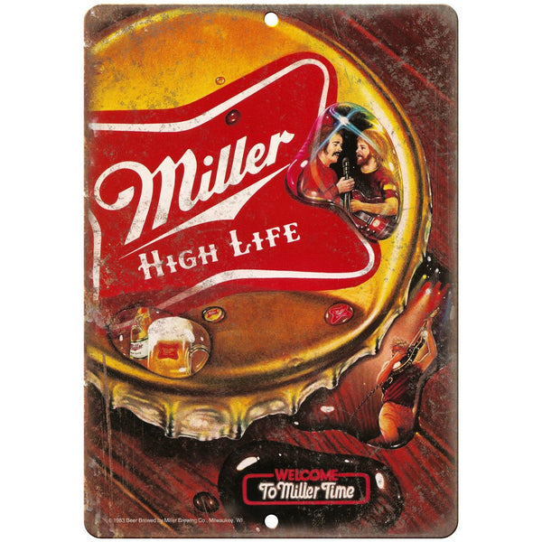 "1983 Miller High Life Man Cave Décor Art 10"" x 7"" Reproduction Metal Sign E361"