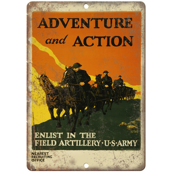 "Adventure and Action US Army Wartime Poster 10"" x 7"" Reproduction Metal Sign M77"