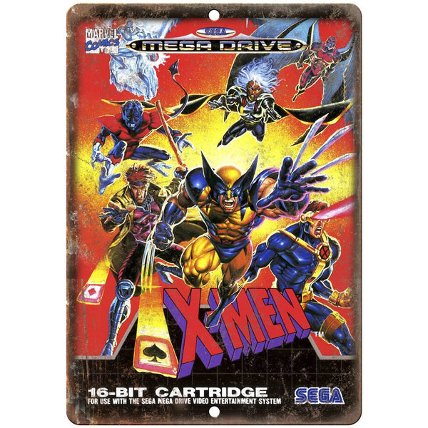 "Sega 16-Bit X-Men Mega Drive Box Art 10"" x 7"" Reproduction Metal Sign A13"