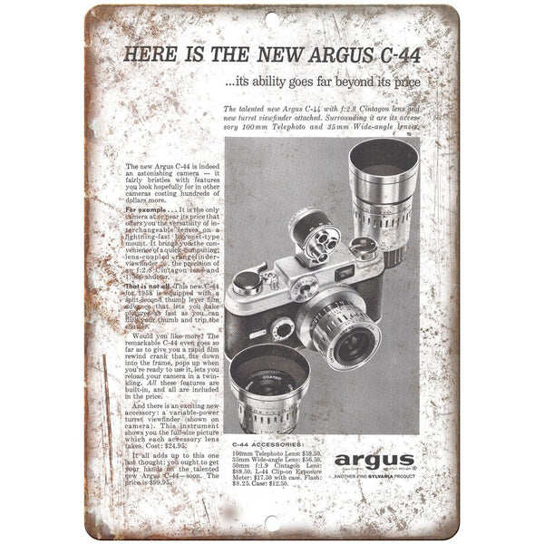 "1958 - Argus C-44 Film Camera - 10"" x 7"" Retro Look Metal Sign"