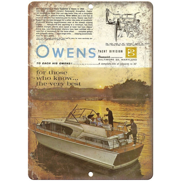 "Owens Yacht vintage boat ad 10"" x 7"" reproduction metal sign"