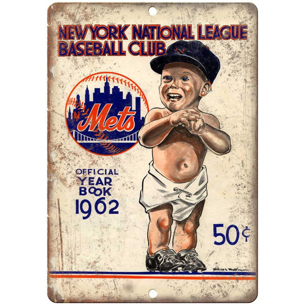 "New York National League Baseball Club 1962 10"" x 7"" Reproduction Metal Sign X12"