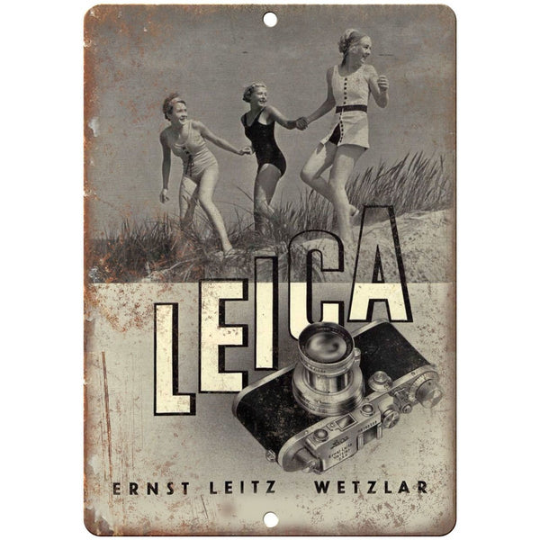 "Leica 35mm Film Camera Leitz Ernst Leitz Wetzlar 10"" x 7"" Retro Look Metal Sign"