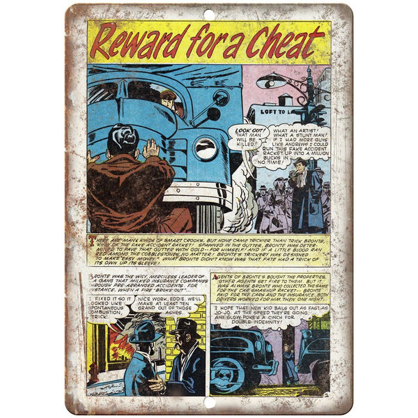 "Reward for a Cheat Comic Strip Art 10"" X 7"" Reproduction Metal Sign J316"