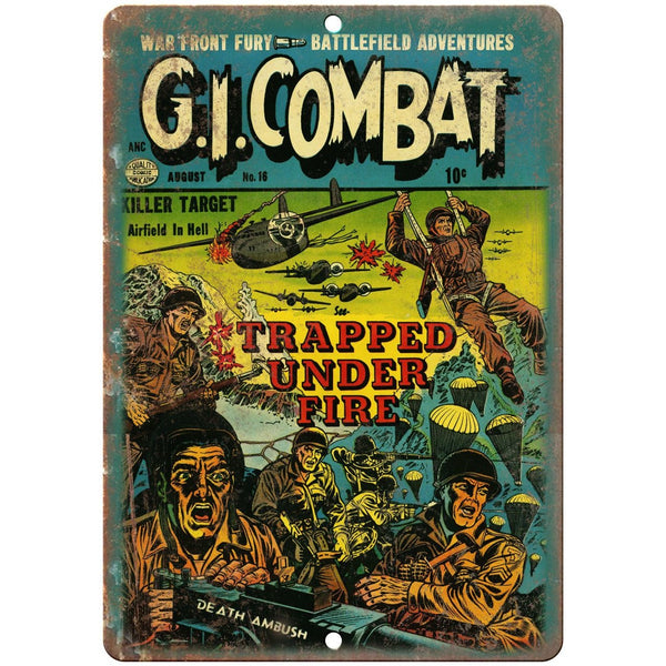 "GI Combat Trapped Under Fire Comic 10"" X 7"" Reproduction Metal Sign J257"