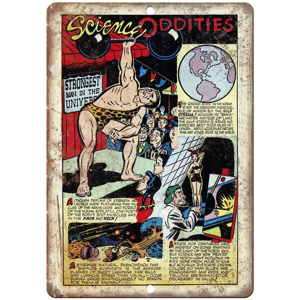 "Science Oddities Vintage Comic Strip 10"" X 7"" Reproduction Metal Sign J469"