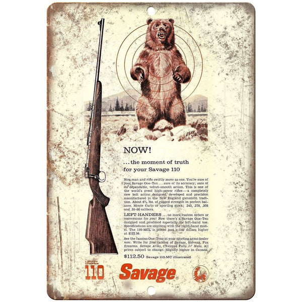 "Savage Model 110 Rifle 10"" x 7"" Reproduction Metal Sign"