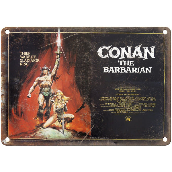 "Conan The Barbarian Schwarzenegger Movie Poster 10"" x 7"" Retro Look Metal Sign"