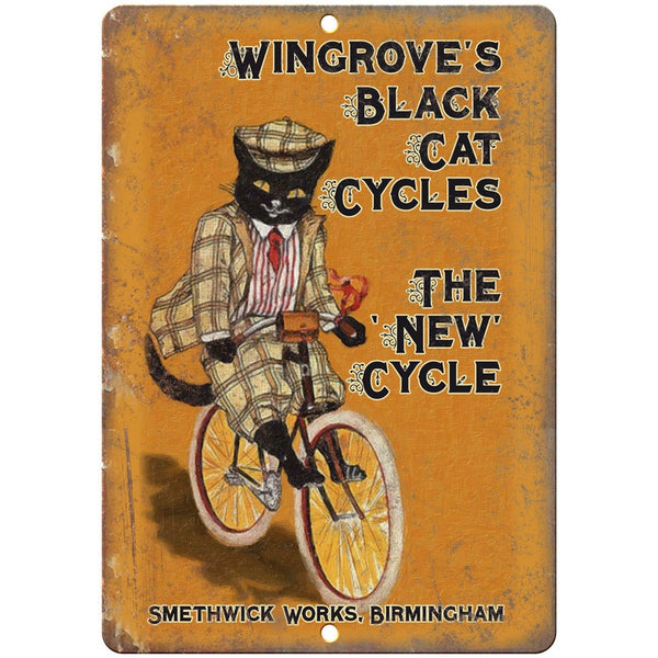 "Wingrove Black Cat Cycles Bicycle Ad 10"" x 7"" Reproduction Metal Sign B229"