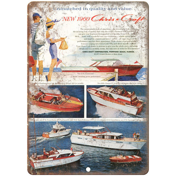 "1960 Chris Craft Boat Vintage Art 10"" x 7"" Reproduction Metal Sign L51"