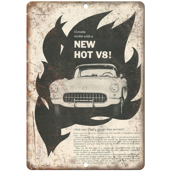 "1956 Corvette Chevrolet RARE ad 10"" x 7"" Reproduction Metal Sign"