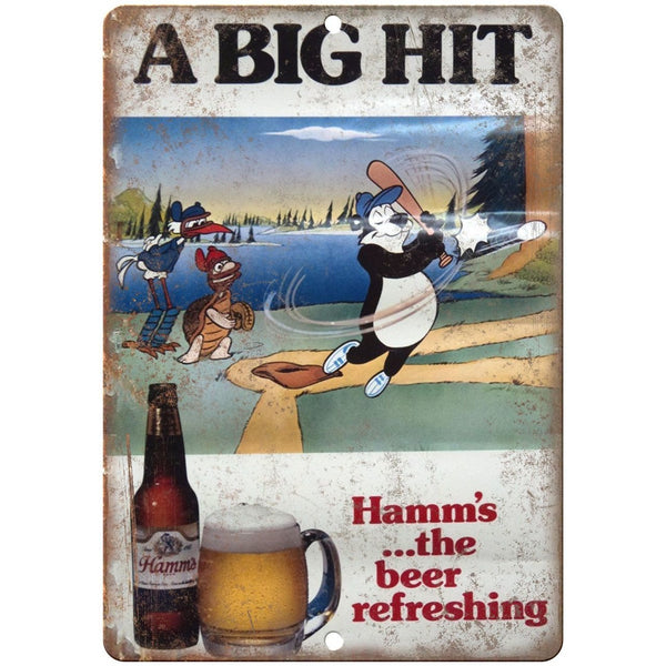 "10"" x 7"" Metal Sign - Hamm's Beer A Big Hit Bear Vintage Look Reproduction"