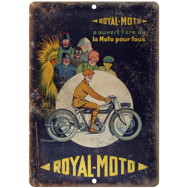 "Royal Moto Vintage Motorcycle Ad 10"" x 7"" Reproduction Metal Sign F47"