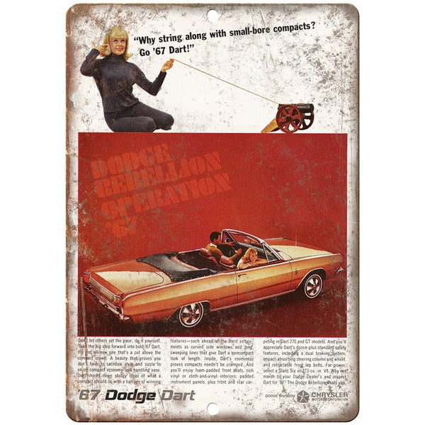 "1967 Dodge Dart Convertible Vintage Ad 10"" x 7"" Reproduction Metal Sign"
