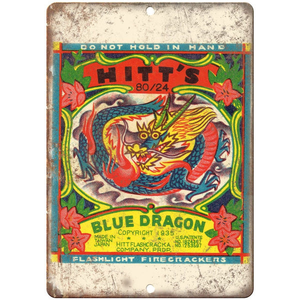 "Hitt's Blue Drangon Firework Package Art 10"" X 7"" Reproduction Metal Sign ZD78"