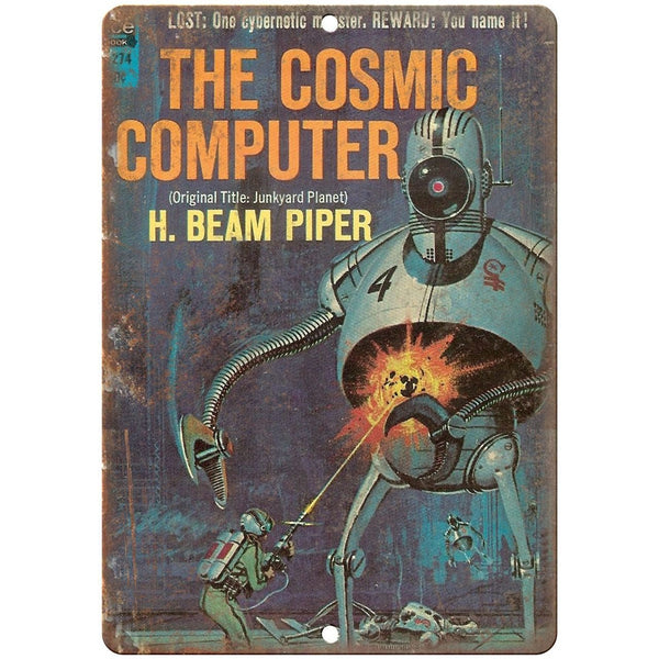 "1963 - The Cosmic Computer H. Beam Piper 10"" x 7"" reproduction metal sign"