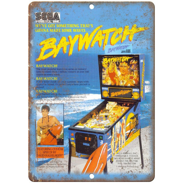 "Sega Pinball Machine Baywatch Ad 10"" X 7"" Reproduction Metal Sign G98"