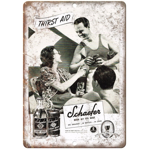 "Schaefer Vintage Beer Ad 10"" x 7"" Reproduction Metal Sign E321"