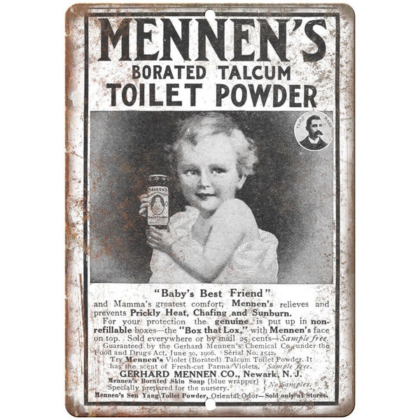 "Mennen's Toilet Powder Vintage Ad 10"" X 7"" Reproduction Metal Sign ZF76"