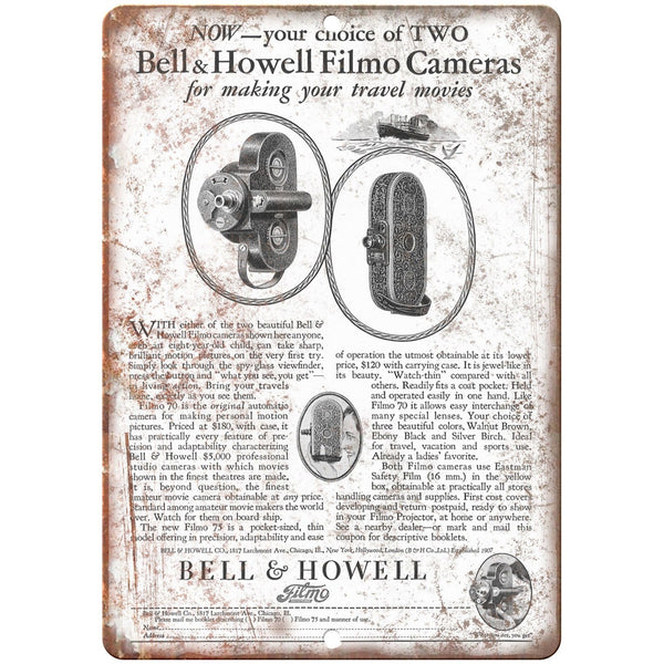 "1928 - Bell & Howell Film Camera - 10"" x 7"" Retro Look Metal Sign"