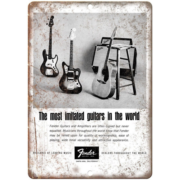 "Fender Guitar and Amp Vintage Ad 10"" X 7"" Reproduction Metal Sign R01"