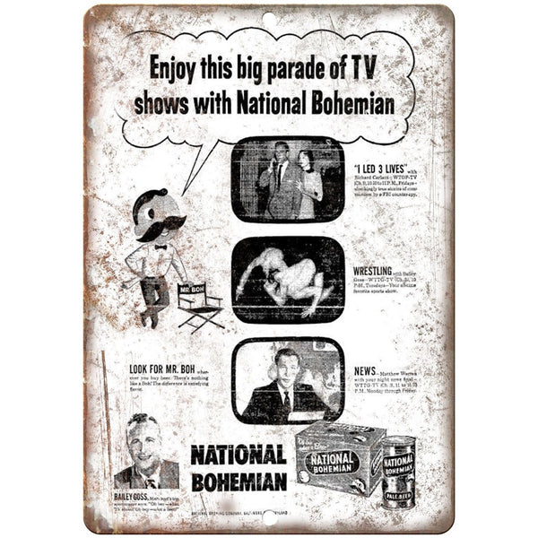 "National Bohemian Beer Vintage Ad Mr. Boh's 10"" x 7"" Retro Look Metal Sign"