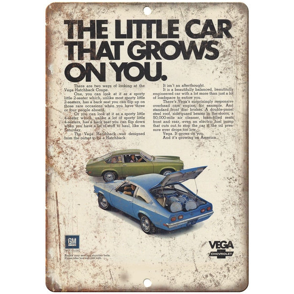 "Chevy Vega Retro Print Advertisment 10"" x 7"" Reproduction Metal Sign"