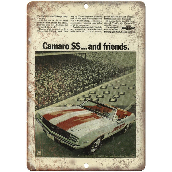 "Chevy Camaro SS Vintage Print Ad Man Cave 10"" x 7"" Reproduction Metal Sign"