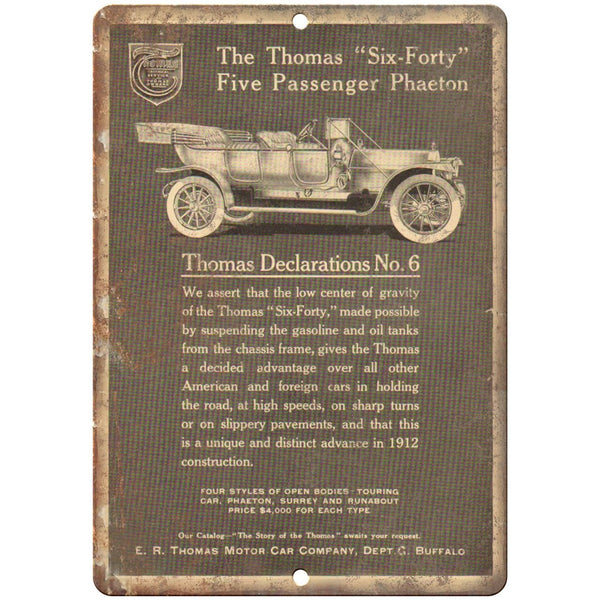"Early 1900's - Thomas Six-Forty Phaeton Car Ad - 10"" x 7"" Retro Metal Sign"