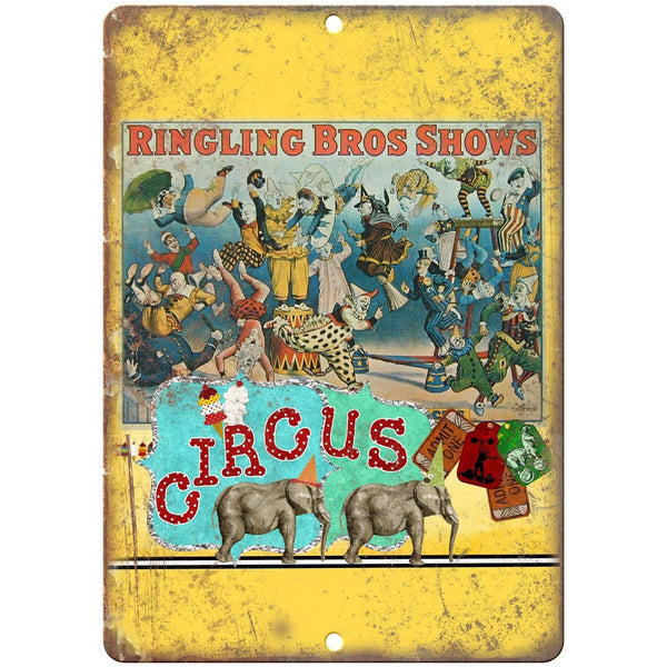 "Ringling Bros Shows Circus Ad 10"" X 7"" Reproduction Metal Sign ZH75"