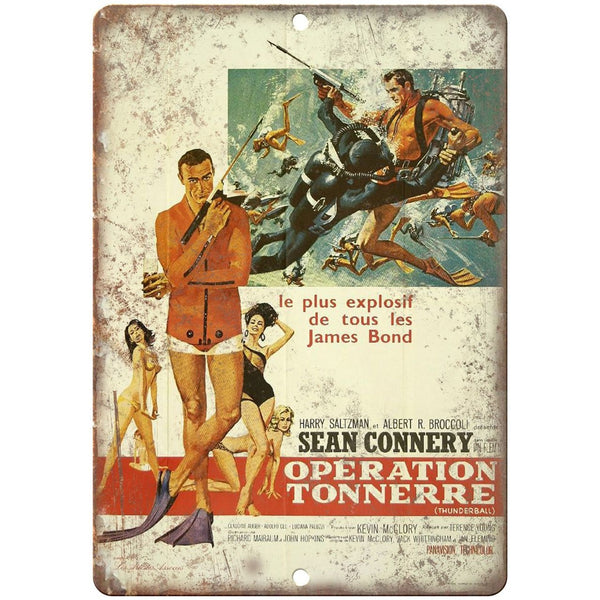 "James Bond, 007, Operation Tonnerre, Sean Connery, 10"" x 7"" retro metal sign"